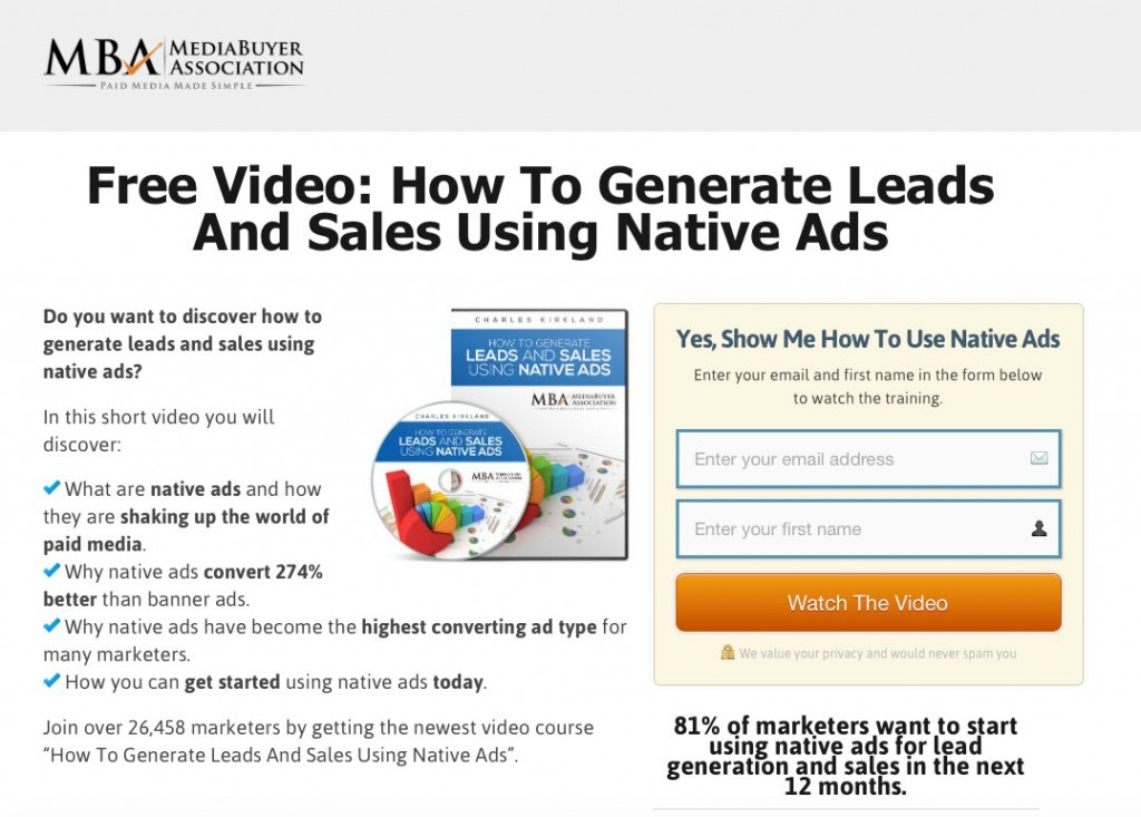 Make the landing page offer something valuable to your lead.